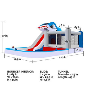 Blast Zone Shark Park Inflatable Water Park Bouncer dimensions